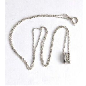 Jewelry - 10k White Gold 3 Stone Diamond Pendant Necklace